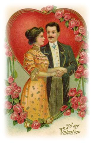 Victorian Couple Valentine Clip Art