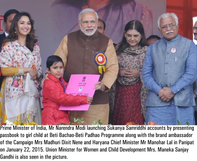 P.M. Narendra Modi launching Sukanya Samriddhi Account Scheme