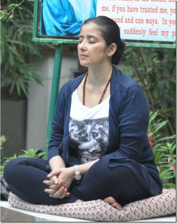 Actor Manisha Koirala doing Meditation