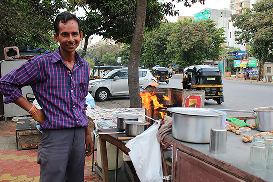 Vender who sell tea, coffee on road at mumbai