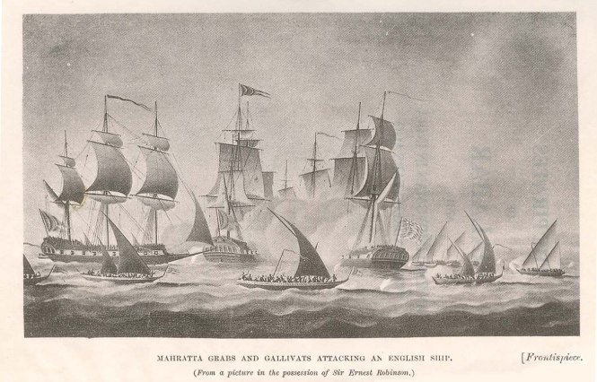 Maratha Grabs and Gallivats attacking an English Ship